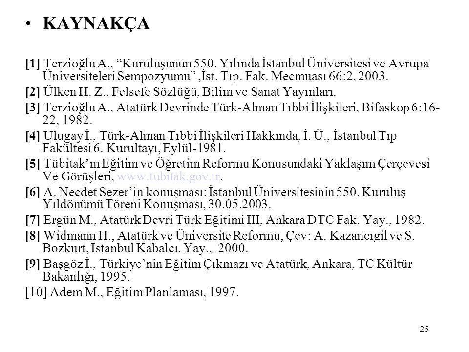 KAYNAKÇA [1] Terzioğlu A., Kuruluşunun 550. Yılında İstanbul Üniversitesi ve Avrupa Üniversiteleri Sempozyumu ,İst. Tıp. Fak. Mecmuası 66:2, 2003.
